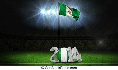 Nigeria national flag waving on foo