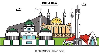 Nigeria outline city skyline, linear illustration, line banner, travel landmark, buildings silhouette, vector