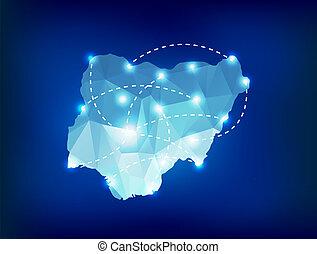 nigeria, país, mapa, polygonal, con, luces del punto, lugares