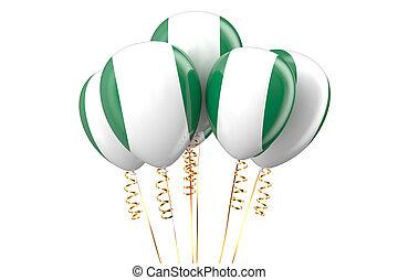 nigeria, patriotisch, luftballone, holyday, begriff