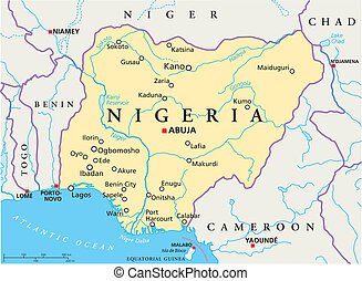 Nigeria Political Map - Political map of Nigeria with...