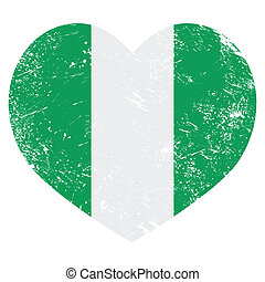 Nigeria retro heart shaped flag