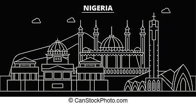 Nigeria silhouette skyline, vector city, nigerian linear...