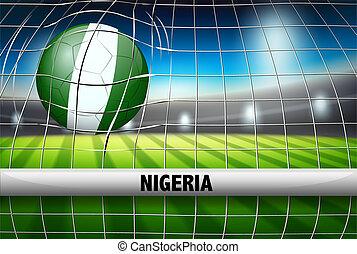 Nigeria soccer ball in goal