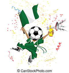 Nigeria Soccer Fan with Ball Head.
