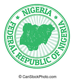 Nigeria stamp - Grunge rubber stamp with the name and map of...