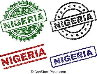 nigeria, timbre, cachets, textured, gratté