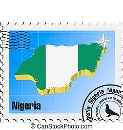 nigeria, vecteur, timbre