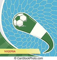 Nigeria waving flag and soccer ball in goal net