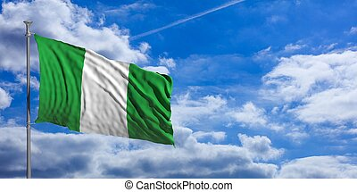 Nigeria waving flag on blue sky. 3d illustration