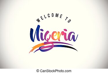 Nigeria Welcome To Message in Purple Vibrant Modern Colors.