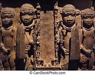 Nigerian Brass Plaque - Nigerian African brass plaque of the...