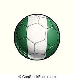 Nigerian Flag Football - Soccer Ball - Vector Illustration...