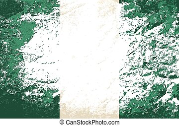 Nigerian flag Grunge background. Vector illustration Eps 8.