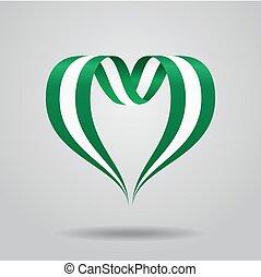 Nigerian flag heart-shaped ribbon. Vector illustration. -...