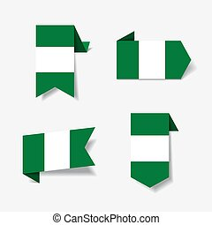 Nigerian flag stickers and labels. Vector illustration. -...