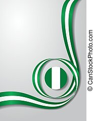 Nigerian flag wavy background. Vector illustration. -...