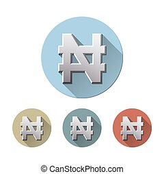 Nigerian Naira currency sign - Set of Naira currency sign on...