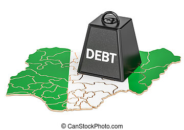 Nigerian national debt or budget deficit, financial crisis concept, 3D rendering
