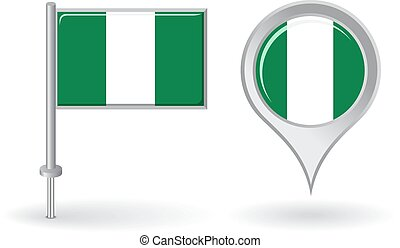 Nigerian pin icon and map pointer flag. Vector illustration.