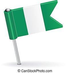 Nigerian pin icon flag. Vector illustration Eps 8.