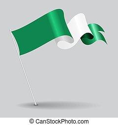 Nigerian pin wavy flag. Vector illustration. - Nigerian pin...