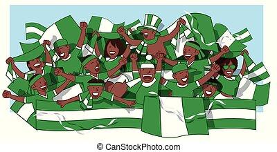 Nigerian soccer fans cheering