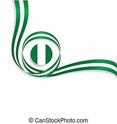 Nigerian wavy flag background. Vector illustration. -...