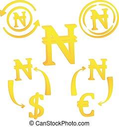 nigeriano, naira, valuta, icona, simbolo, nigeria