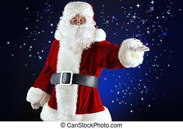 nigh noel - Portrait of a traditional Santa Claus. Over dark...