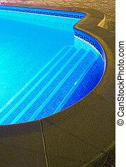Nigh swim - Lightened swimming pool in the night