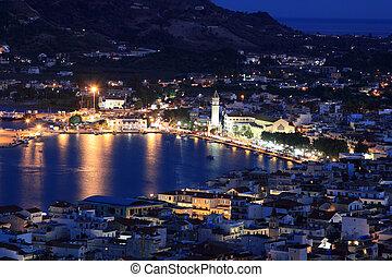 Nigh view on Zante town -  Zakynthos island, Greece.