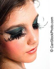 Nighlife makeup on a young girl