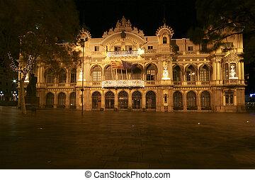 night., カタロニア, las, バルセロナ, 港, スペイン, ramblas