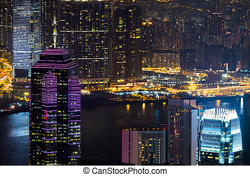 Night aerial panorama of Hong Kong