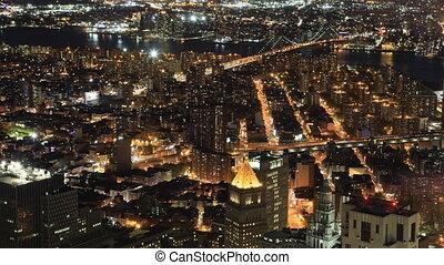 Night aerial timelapse of Brooklyn and Manhattan Bridges - A...