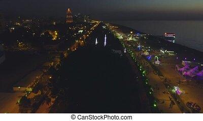 Night aerial view of Batumi - capital of Adjara, Georgia
