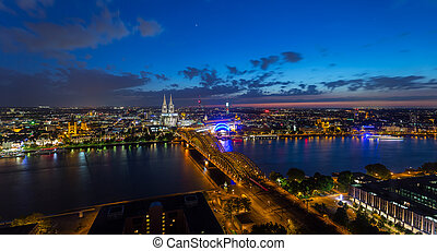 Night aerial view of cologne city