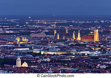 Night aerial view of Munich, Germany - Night aerial view of...