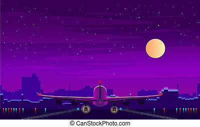 Night airport with takeoff of the plane. Night sky, landscape with building. Vector background.