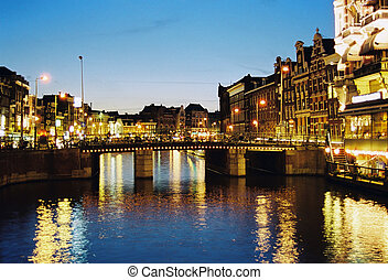 Night Amsterdam - Night scene in one of central canals in...