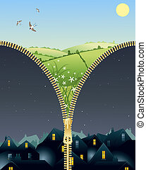 night and day - an illustration of a brass or golden zipper ...