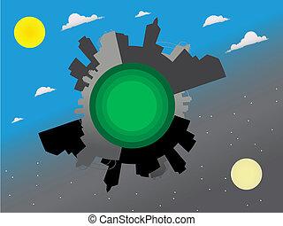 Night and day around the world Global View - Vecto - Around ...