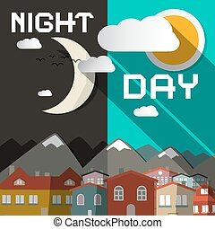 Night and Day Vector Illustration with Mountain City and Sun with Moon