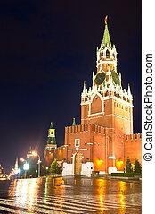 Night and rainy. Spasskaya Tower - Night and rainy view of ...