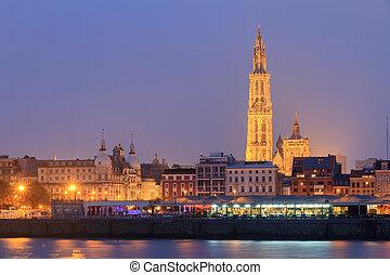 Night Antwerp cityscape - Beautiful cityscape of the skyline...