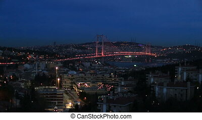Bosporus Bridge - night at Bosporus Bridge istanbul Turkey...
