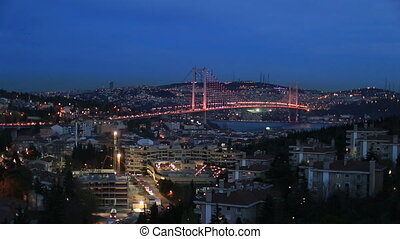 Bosporus Bridge - night at Bosporus Bridge istanbul Turkey,...