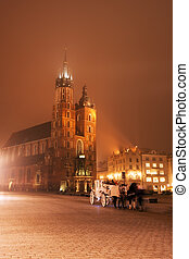 Night at Old Town - St. Mary's Basilica on Market Square,...