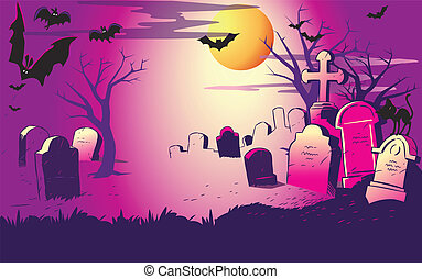 night at the cemeter. Halloween - The illustration shows...